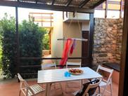 Outside, the patio