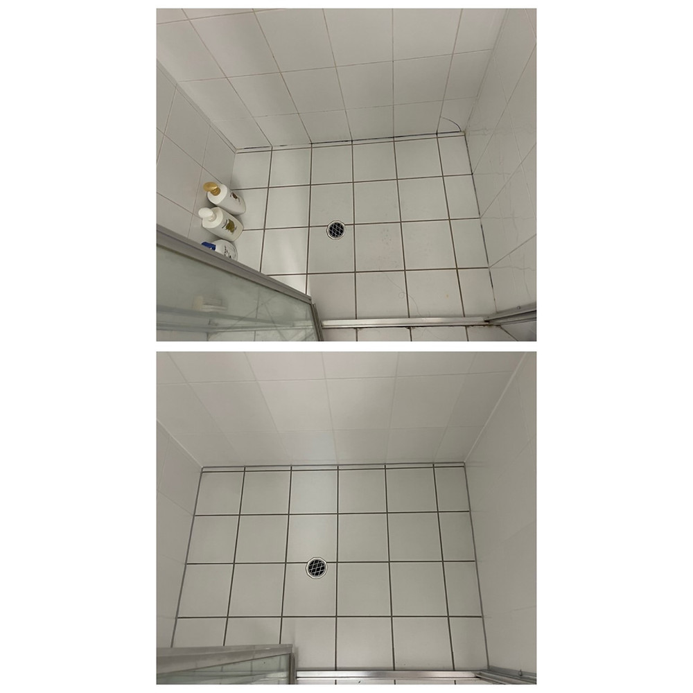 outstanding before and after of white tile shower