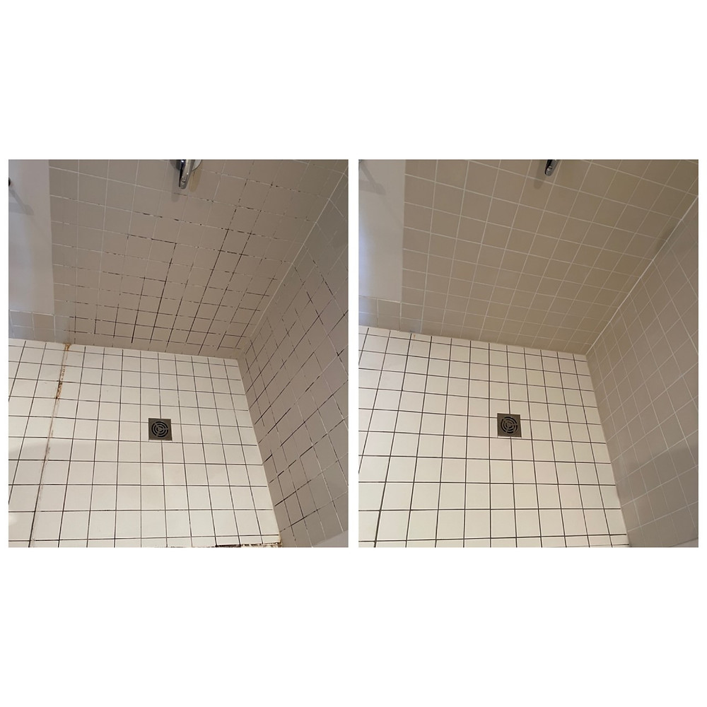 white tiles shower before and after shower sealing