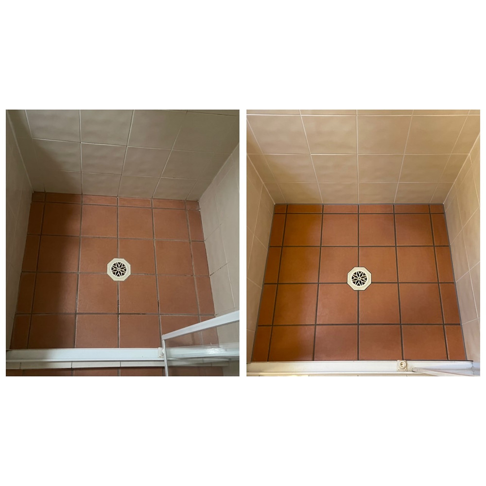 terracotta tile shower sealed before and after results