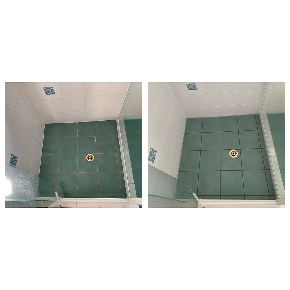 before and after green tiles