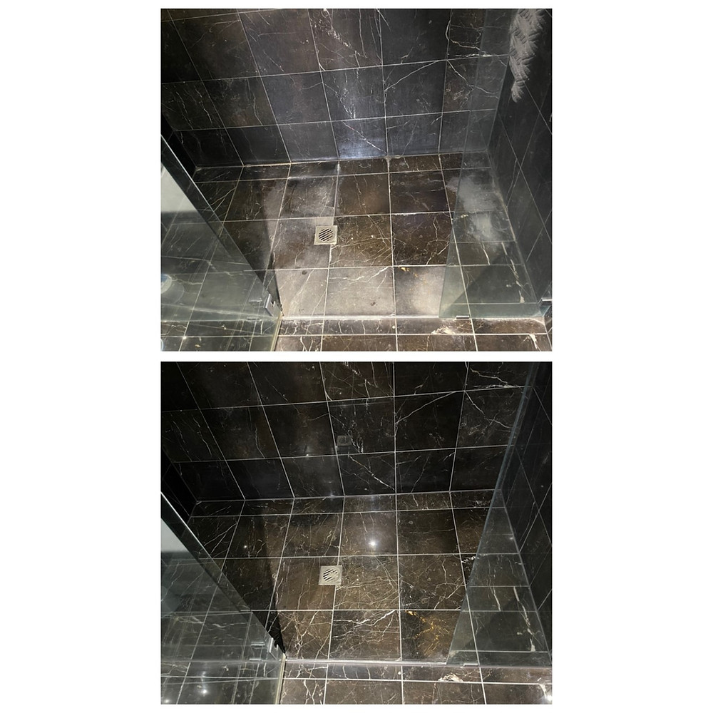 Marble shower sealed before and after service