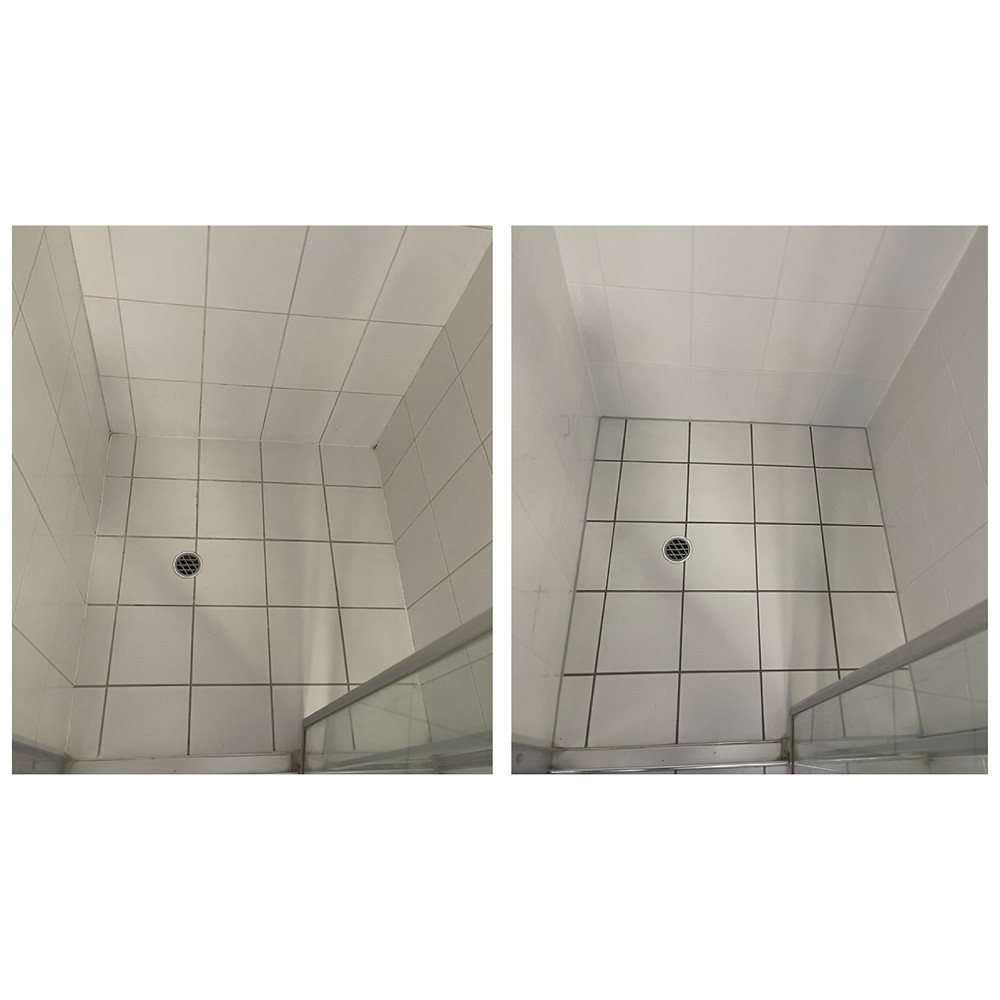 Before and After of shower sealing