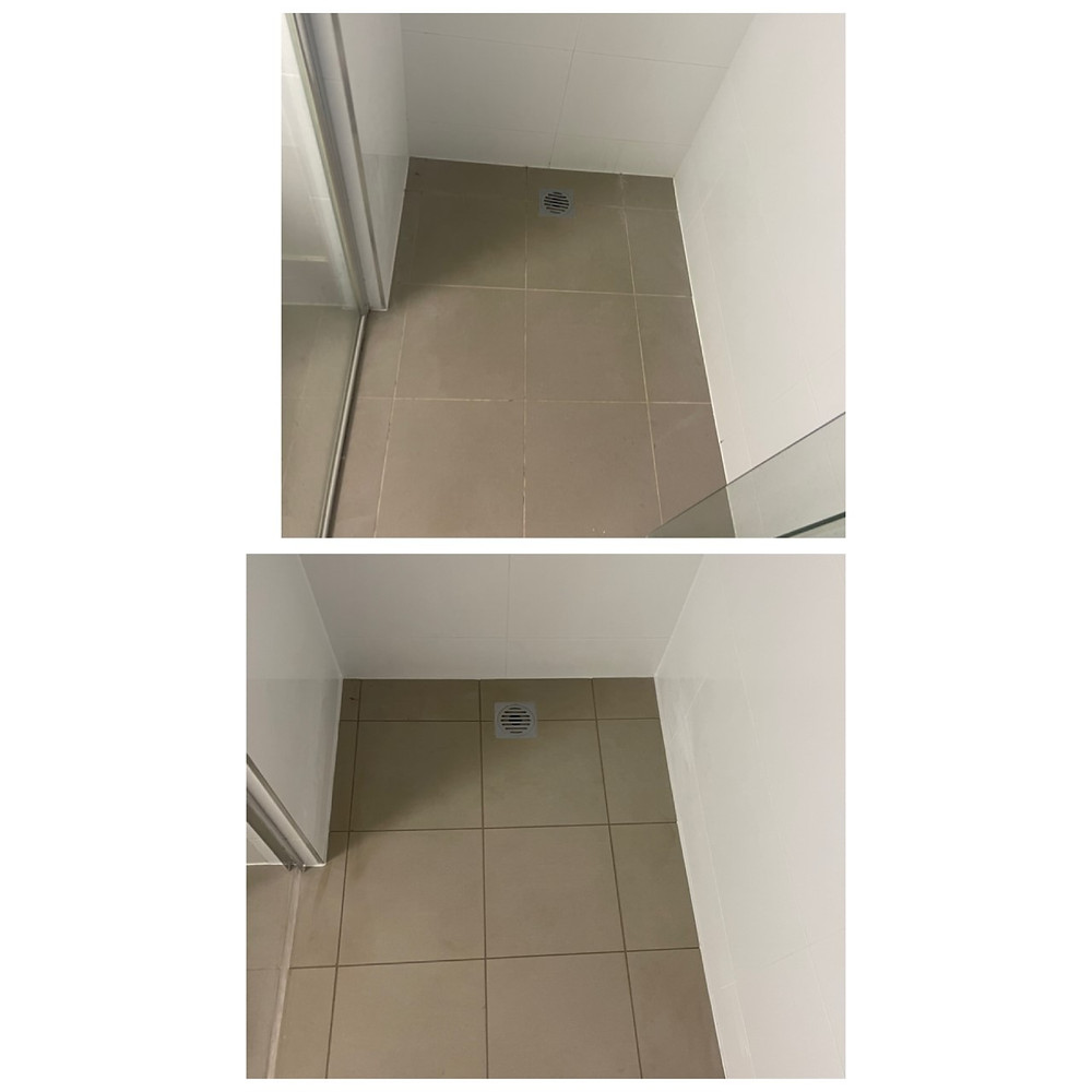 before and after of shower sealed with screen removal