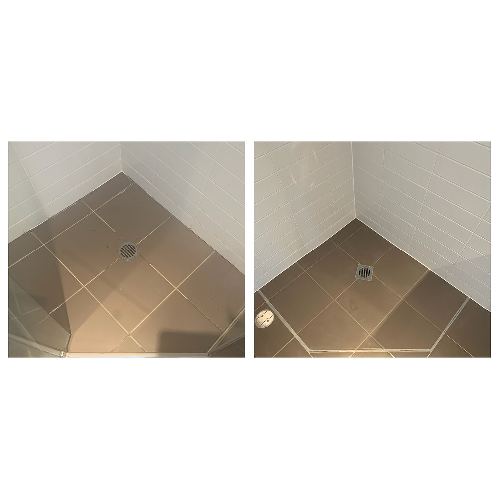 brown tile shower