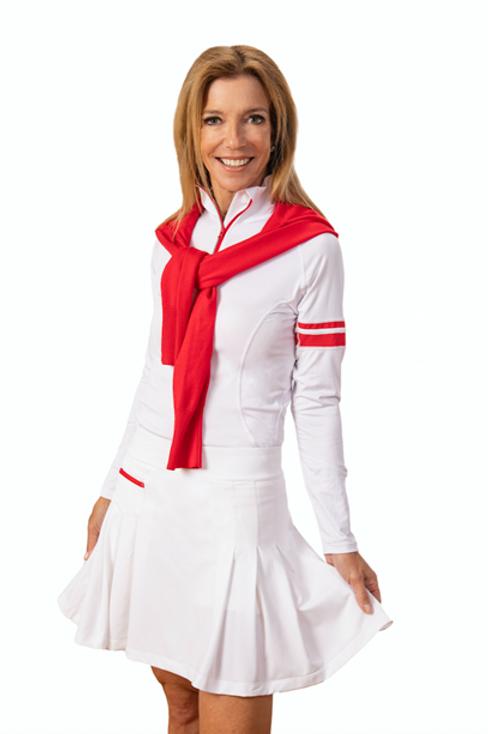 PAMELA LONG SLEEVE ZIP-UP - WHITE/RED