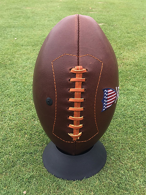 Leather Football by Links & Kings (handcrafted w/ WGCC logo)