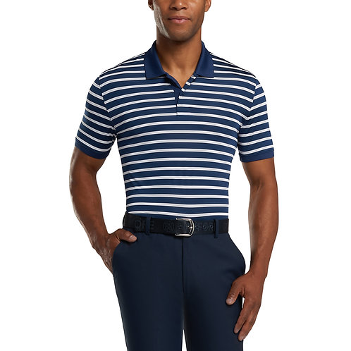 PERFORATED WIDE STRIPE POLO (TWILIGHT/SNOW)