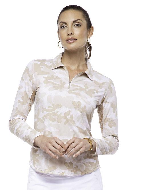 IBKUL Camo Print Long Sleeve Zip Polo (natural)