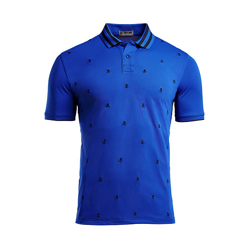 SKULL & T'S EMBROIDERED POLO (sapphire)