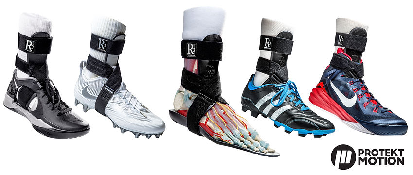 R3 Ankle Brace is shown integrating with several types of athletic footwear like cleats and trainers, some athletes prefer to wear R3 inside the shoe, others wrap the straps around the outside of their footwear, center image shows the R3 brace on an anatomical foot model depicting the major foot bones, muscles and tendons