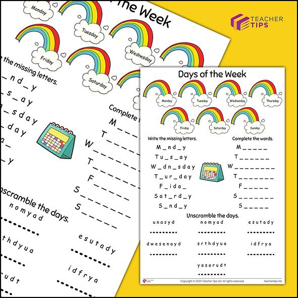 Days of the Week - Worksheet #1