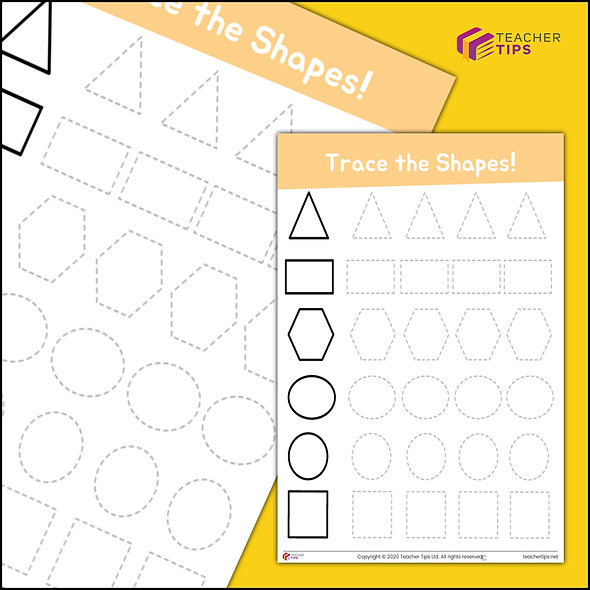 Trace the Shapes - Worksheet