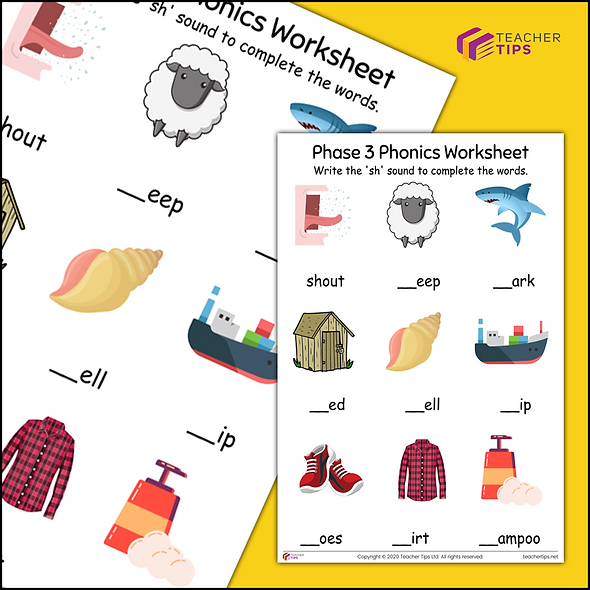 Phase 3 Phonics 'sh' Worksheet #1