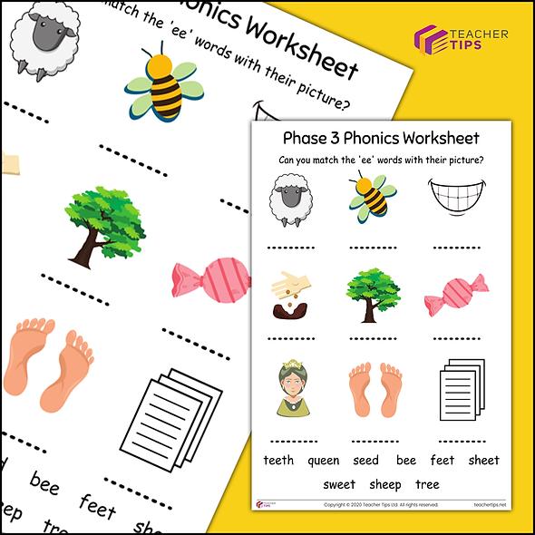 Phase 3 Phonics 'ee' Worksheet #2