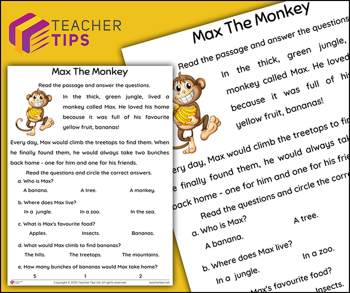 Max The Monkey - Reading Comprehension
