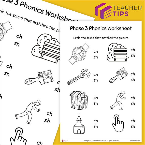 Phase 3 Phonics 'sh and ch' Worksheet #6