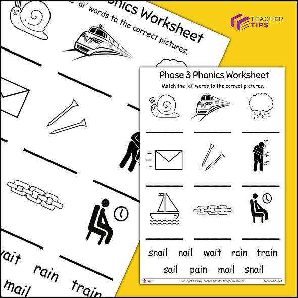 Phase 3 Phonics 'ai' Worksheet #1