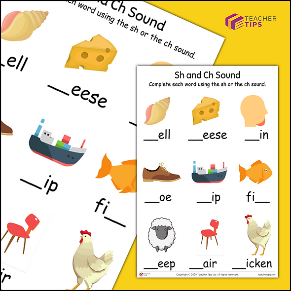 Phase 3 Phonics 'sh and ch' Worksheet #1