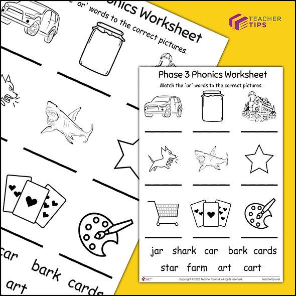 Phase 3 Phonics 'ar' Worksheet #1