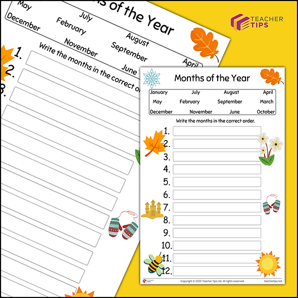 Months of the Year - Worksheet #1