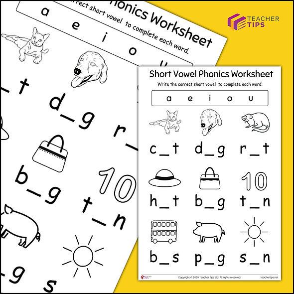 Short Vowel - Worksheet #1