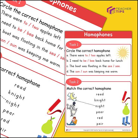 Homophones Worksheet #1