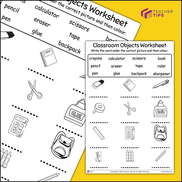 Classroom Objects Worksheet #1