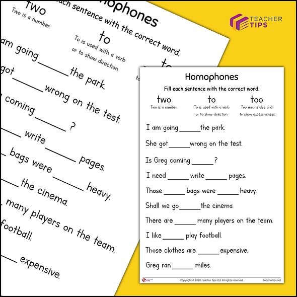 To, Two, Too - Worksheet #1