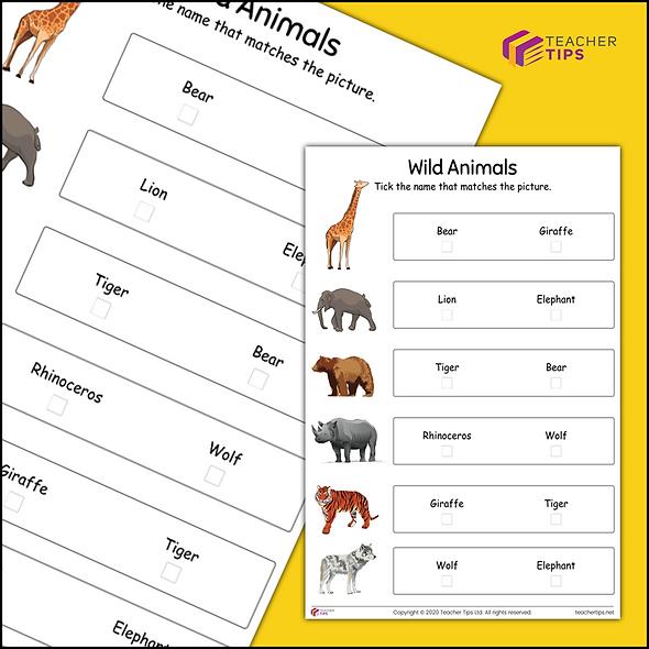 Wild Animals - Worksheet #1