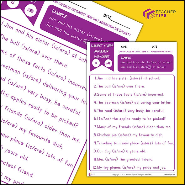 Subject and Verb Agreement - Worksheet #1