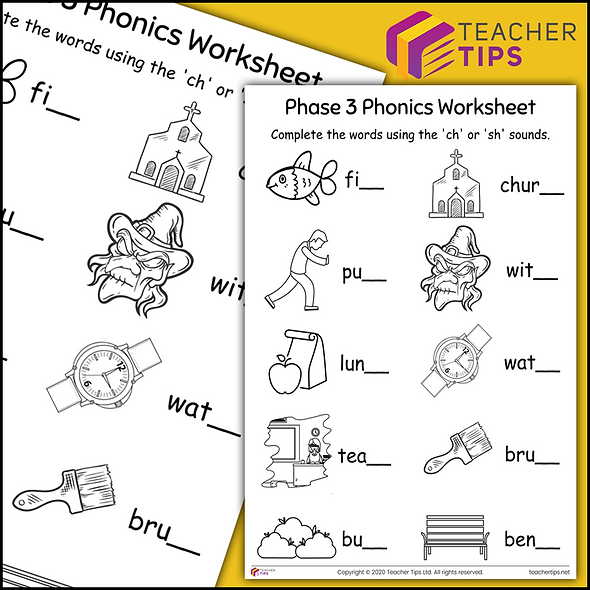 Phase 3 Phonics 'sh and ch' Worksheet #5