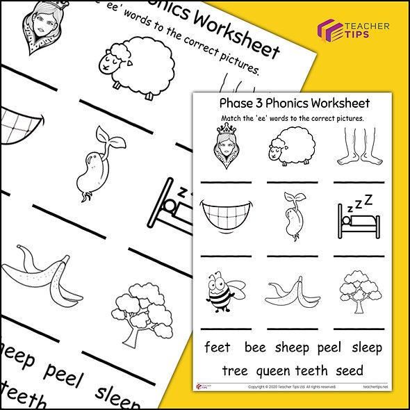 Phase 3 Phonics 'ee' Worksheet #1