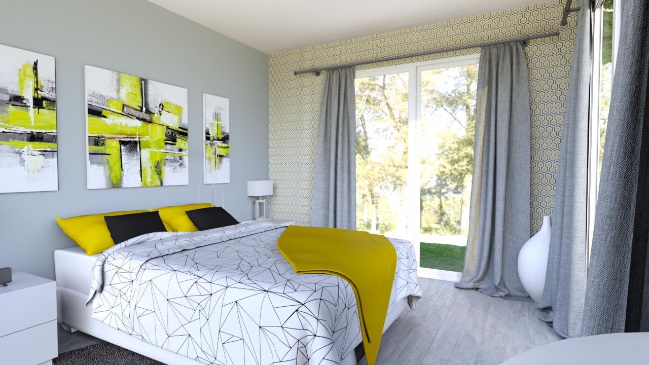 chambre jaune et grise decoration