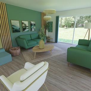 salon coloré vert et jaune