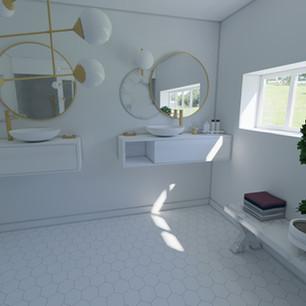 salle de bain blanche et marbre