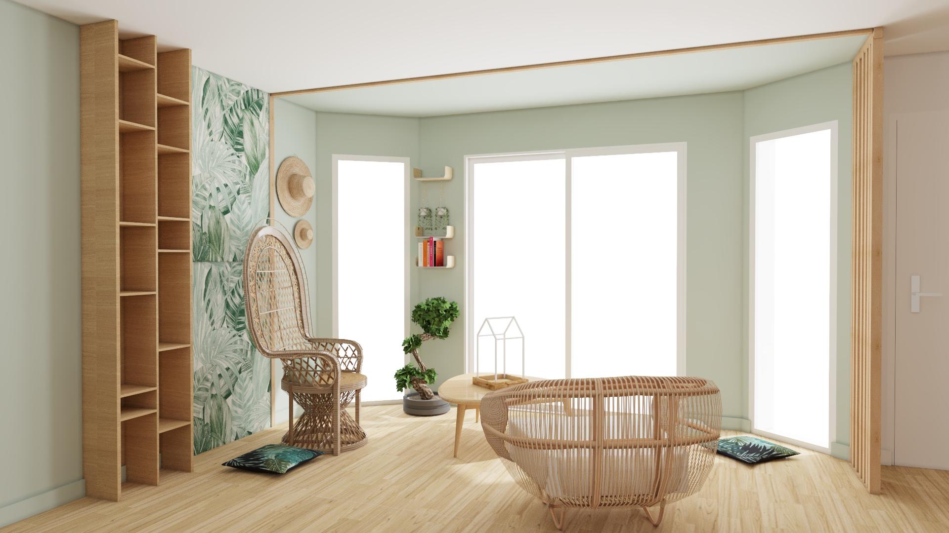 bowindow vert décoration intérieure