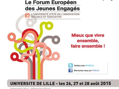 Participez au FOrum Européen des Jeunes Engagés, les 26, 27 et 28 août !
