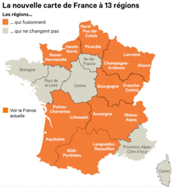 La carte des 13 nouvelles régions de France métropolitaine ©LesÉchos