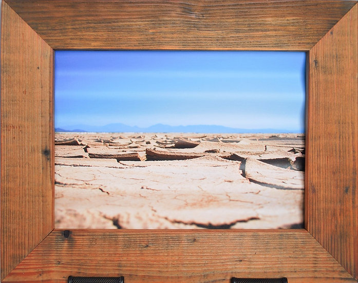 Rustic Nature Art Dried Lake Shoreline Blue Skies Front View