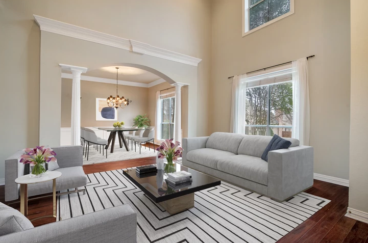 Virtual staging of an empty room.