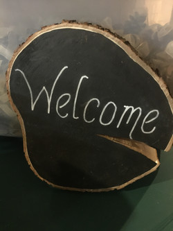 """""""Welcome"""" Tree slice sign"""