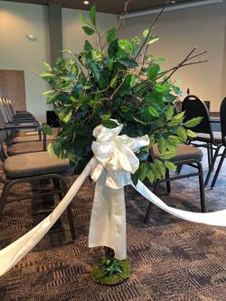 Small decor tree with satin ribbon