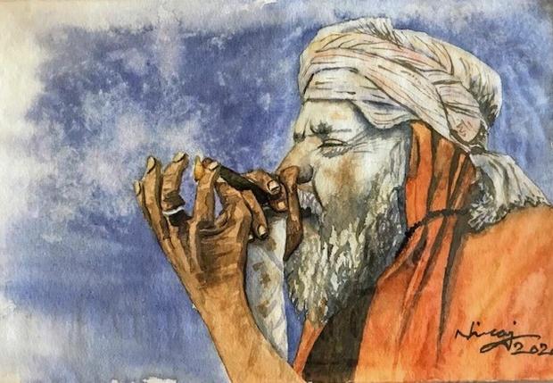 A Hermit Smoking Marijuana