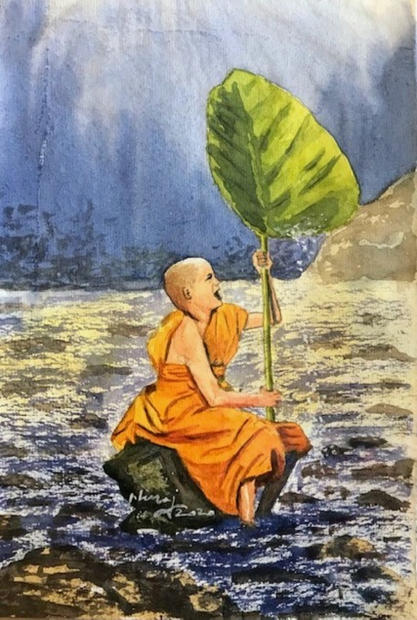 A Monk Enjoying the Nature
