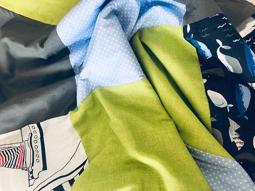 Babydecke Patchwork blau/grün