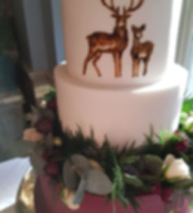 Stag themed wedding cake