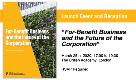 For-Benefit Business and the Future of the Corporation. A research agenda.