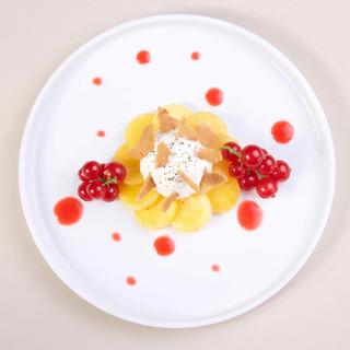Carpaccio de nectarine / groseilles / amandes