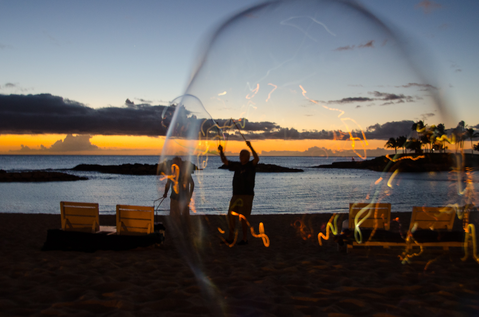 Bubble at Sunset,Hawaii